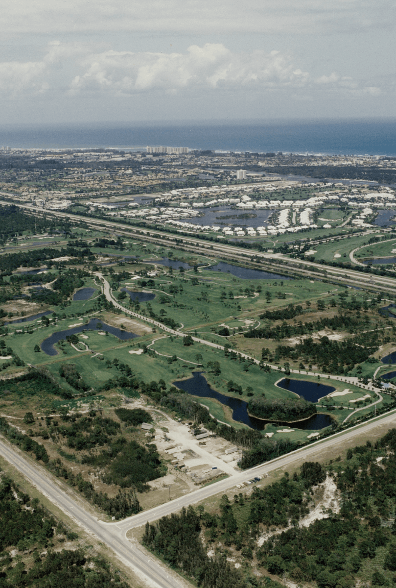 A 1992 aerial view of Golf Village, prior to groundbreaking. Photo courtesy of Richard Sheehan.