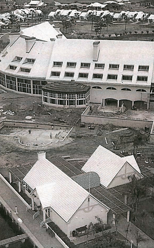 Early construction photos show the location of the first pool, long before the addition of the Youth Facility or Marina Cafe.